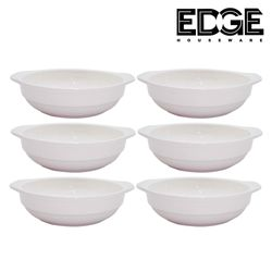 Edge Houseware 7.25 Inches  Ceramic  Bowls for Dessert - Set of 6  Ceramic White Dishes for Serving Ice Cream, Fruit, Dipping Sauce, Rice or Snacks - Microwave and Dishwasher Safe