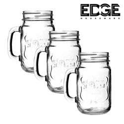 Edge Houseware 200ML/ 7Oz  set of 3 Mason Jar Mugs with Handle Fashioned Drinking Glass for Party or Daily Use random color