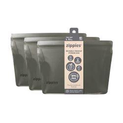 Zippies Steel Grey Reusable Standup Storage Bags Large (3s)